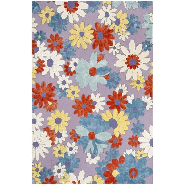 Safavieh Hand-hooked Wilton Lilac/ Blue New Zealand Wool Rug (5' x 8')