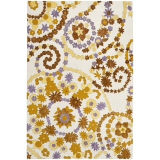 Safavieh Hand-hooked Wilton Ivory/ Brown New Zealand Wool Rug (4' x 6')