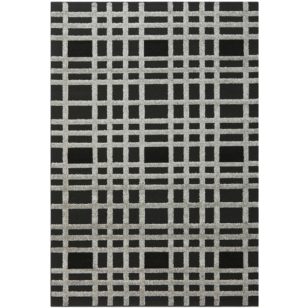 "Safavieh York Modern Charcoal/ Black Check Area Rug - 5'3"" x 7'7"""