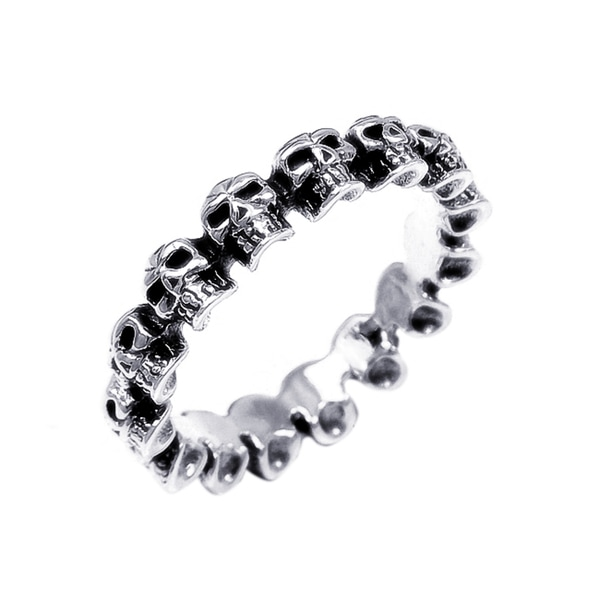 Handmade Punk Mini Skulls Around Band .925 Silver Ring (Thailand)