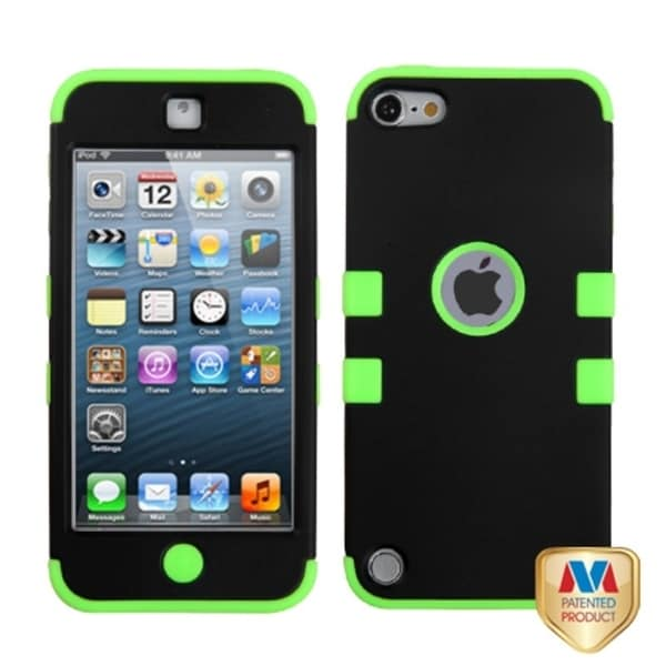 Insten Black/ Neon Green Tuff Hard PC/ Silicone Hybrid Rubberized Matte Case Cover For Apple iPod Touch 5th/ 6th Gen