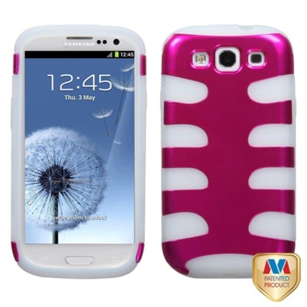 MYBAT Pink/ Clear Metallic Fishbone Cover for Samsung Galaxy S III