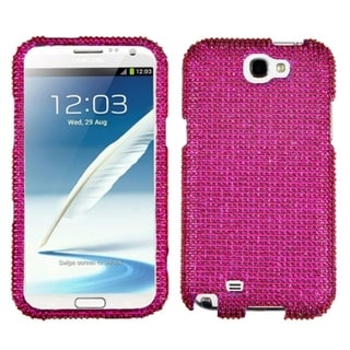 INSTEN Hot Pink Diamante Protector Phone Case Cover for Samsung Note 2 T889/ N7100