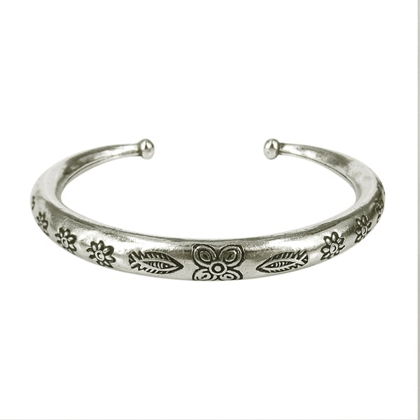 Fish Embellished Floral Handmade Karen Tribe Silver Cuff (Thailand)