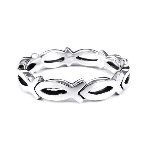 Handmade Christian Fish Eternity Link .925 Sterling Silver Ring (Thailand)
