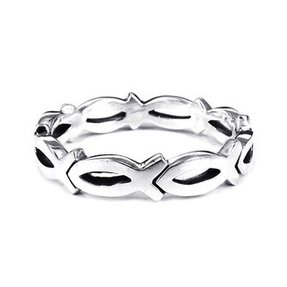 Handmade Christian Fish Eternity Link .925 Sterling Silver Ring (Thailand) (More options available)