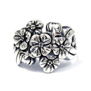 Handmade Stunning Floral Cluster Bouquet .925 Sterling Silver Ring (Thailand)