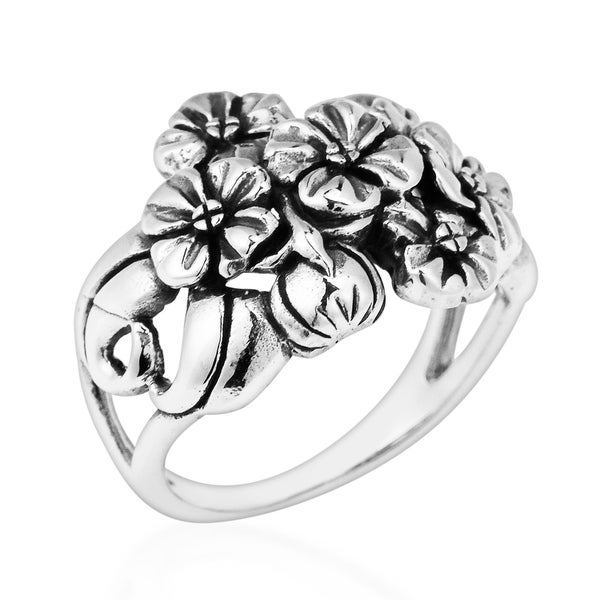 b19e4f0f463212 Handmade Stunning Floral Cluster Bouquet .925 Sterling Silver Ring  (Thailand)
