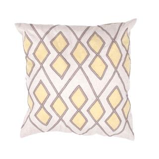Geometric Cotton Ivory/ Yellow 18-inch Decorative Pillow