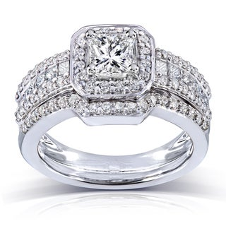 Annello by Kobelli 14k Gold 1 2/5ct TDW Diamond Halo Bridal Ring Set (H-I, I1-I2)