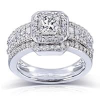 Annello by Kobelli 14k Gold 1 2/5ct TDW Diamond Halo Bridal Ring Set (H-I, I1-I2)