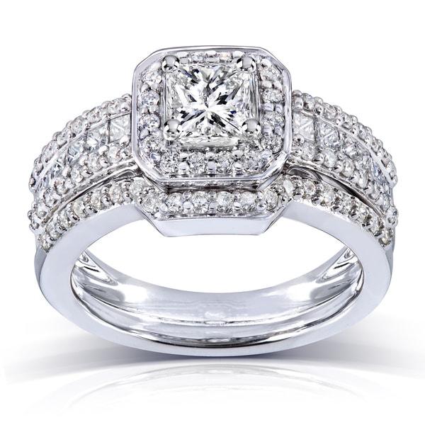 Annello 14k Gold 1 2/5ct TDW Diamond Halo Bridal Ring Set (H-I, I1-I2)