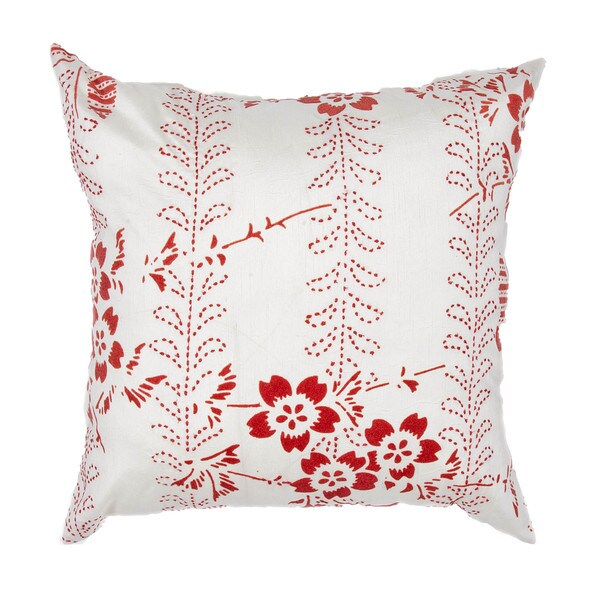 Japenese Floral Design Red 18-inch Decorative Square Pillow