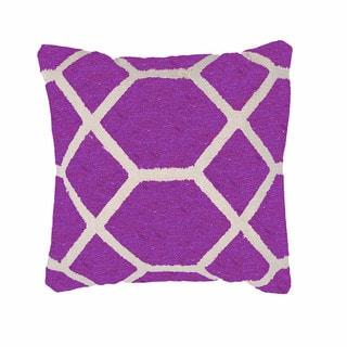 Geometric Cotton Purple 18-inch Decorative Pillow