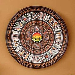 Handcrafted Ceramic 'Sunset' Cuzco Plate (Peru)