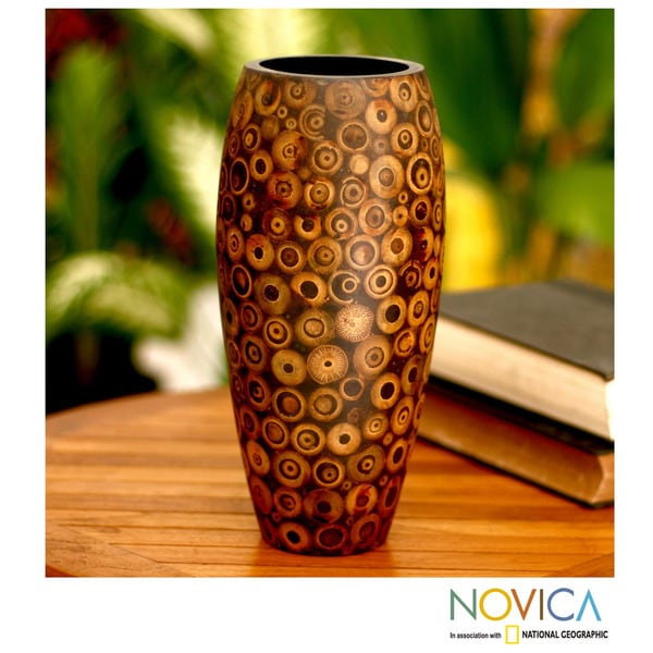 Handcrafted Albesia Wood and Bamboo 'Bubbles' Vase (Indonesia)