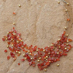 Pearl and Carnelian 'Fiery Cloudfall' Choker (6mm) (Thailand)