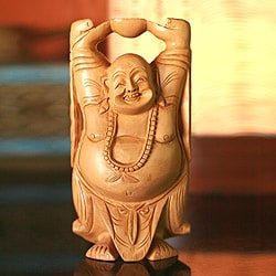 Handmade Kadam Wood 'Laughing Buddha' Statue (India)