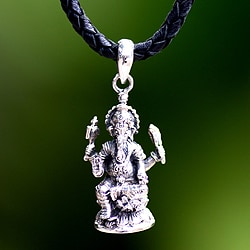 Sterling Silver Men's 'Ganesha' Leather Necklace (Indonesia)
