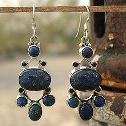Sterling Silver 'Midnight Stars' Lapis Lazuli Earrings (India)
