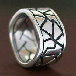 Handmade Sterling Silver Men's 'Puzzle' Ring (Indonesia)