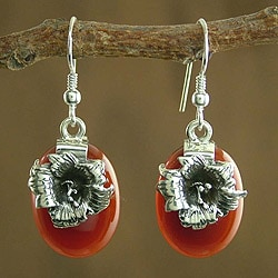 Sterling Silver 'Radiant Blossoms' Carnelian Earrings (India)