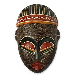 Handcrafted Sese Wood 'Berber Man' African Mask (Ghana)
