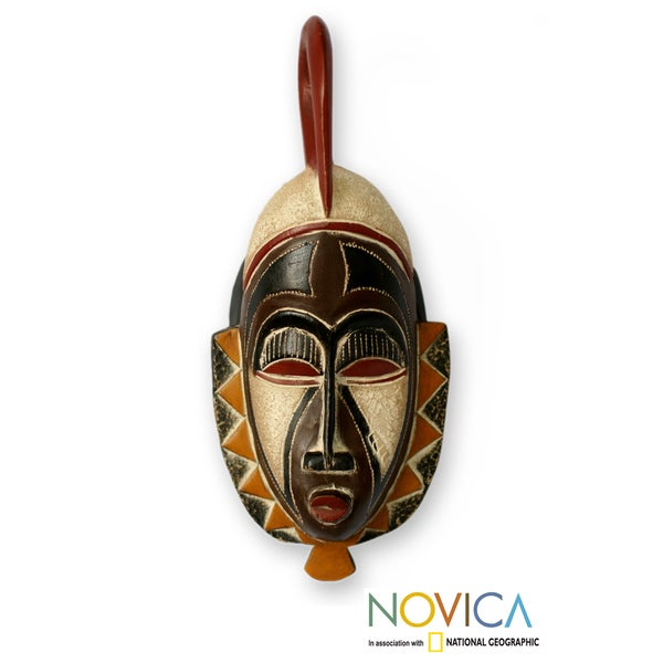 Handcrafted Sese Wood 'Family Values' African Mask , Handmade in Ghana