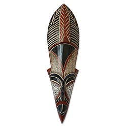 Handcrafted Sese Wood 'Dancing Maiden' African Mask (Ghana)