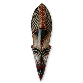 Handmade Sese Wood 'Dancing Maiden' African Mask (Ghana) - Brown/Black
