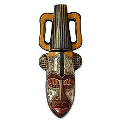 Handcrafted Sese Wood 'King's Companion' African Mask (Ghana)