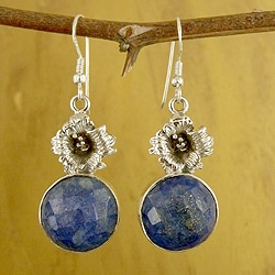 Handmade Sterling Silver 'Midnight Rose' Lapis Lazuli Earrings (India)