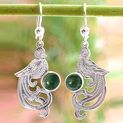 Jade Dangle Earrings 'Green Quetzal' (Guatemala)