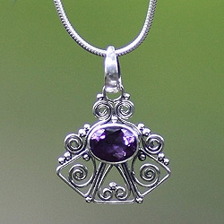 Sterling Silver 'Bali Belle' Amethyst Necklace (Indonesia)