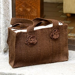 Handmade Maguey 'Brown Maya Rose' Shoulder Bag (Guatemala)