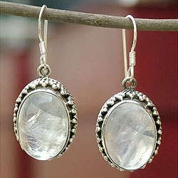 Handmade Sterling Silver 'Misty Moon' Moonstone Earrings (India)