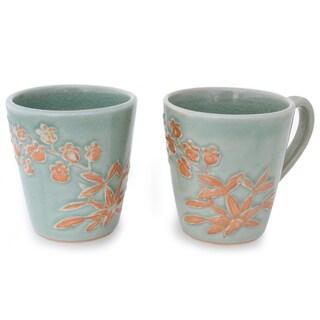 Handmade Set of 2 Ceramic 'Golden Orchid' Celadon Coffee Mugs (Thailand)