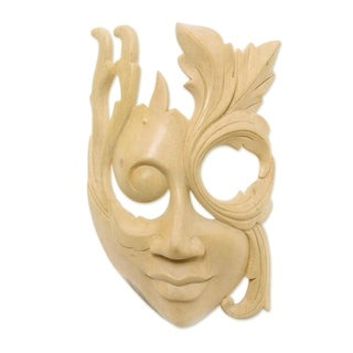 Hibiscus Wood 'Blossoming Woman' Mask, Handmade in Indonesia