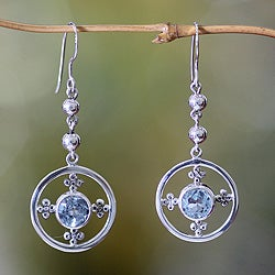 Sterling Silver 'Around the World' Blue Topaz Earrings (Indonesia)