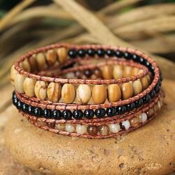 Cotton 'Bold Honeysuckle' Multi-gemstone Wrap Bracelet (Thailand)