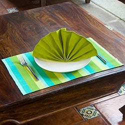 Handmade Set of 4 Cotton 'Casaca Morn' Placemats and Napkins (Guatemala)