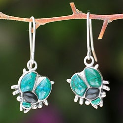 Silver 'Bright Scarab' Chrysocolla and Obsidian Earrings (Peru)