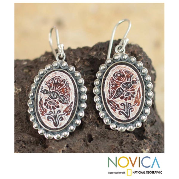 Handmade Sterling Silver 'Andean Butterfly' Dried Gourd Earrings (Peru)