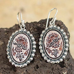 Sterling Silver 'Andean Butterfly' Dried Gourd Earrings (Peru)
