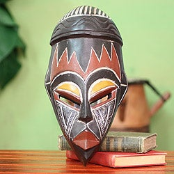 Handcrafted Sese Wood 'Be Persistent' African Mask (Ghana)