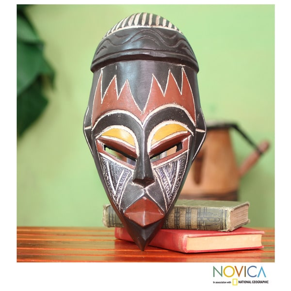 Handmade Sese Wood 'Be Persistent' African Mask (Ghana)