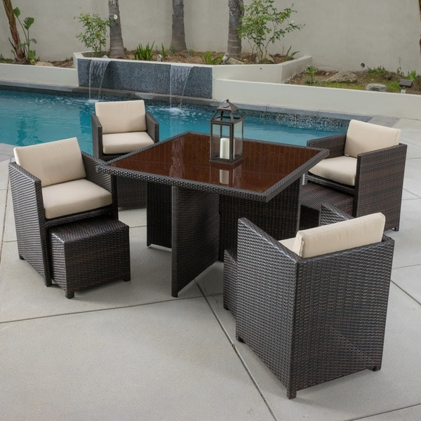 Beaumont 9-piece Outdoor Seating Set with Sunbrella Cushions by Christopher Knight Home