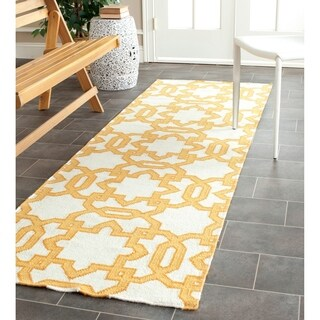 Safavieh Handwoven Moroccan Reversible Dhurrie Geometric-pattern Ivory Wool Rug (2'6 x 8')