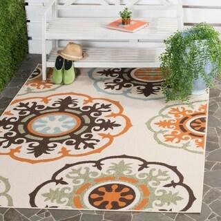 Safavieh Veranda Piled Indoor/ Outdoor Cream/ Terracotta Polypropylene Rug (2'7 x 5')
