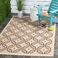 "Safavieh Veranda Piled Indoor/ Outdoor Cream/ Chocolate Rug - 2'7"" x 5'"